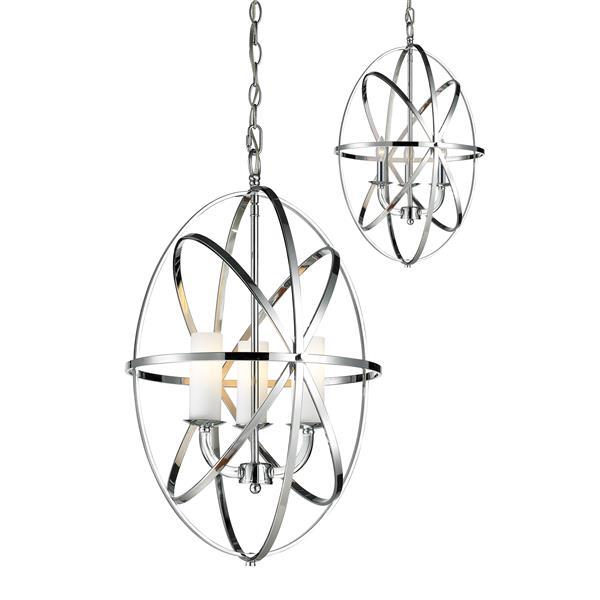 Lumière suspendue à 3 lumières «Aranya», chrome