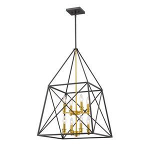 Lumière suspendue à 8 lumières «Tressle», or