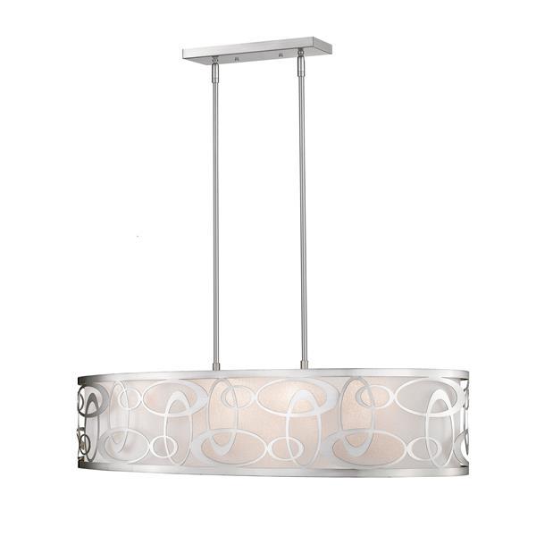 Lumière suspendue à 4 lumières «Opal», nickel