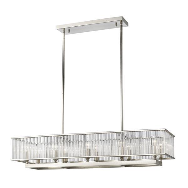 Lumière suspendue à 10 lumières «Zalo», nickel