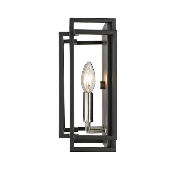 Z-Lite Titania 2-Light Wall Sconce - Black/Brushed Nickel