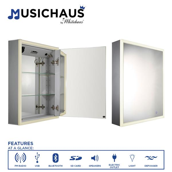 Whitehaus Collection Single Door Electronic Medicine Cabinet