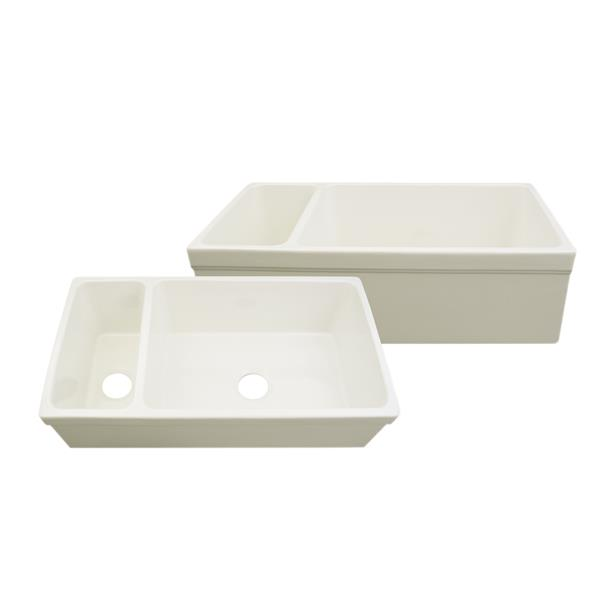 Whitehaus Collection Double Bowl Fireclay Kitchen Sink - 36-in - Off-White