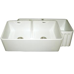 Whitehaus Collection Double Bowl Fireclay Sink - 33-in - Off-White