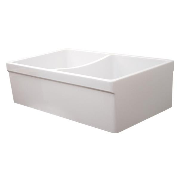 Whitehaus Collection Double Bowl Fireclay Sink - 33-in - White