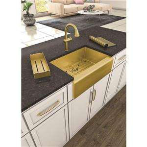 Whitehaus Collection Kitchen Faucet with Pull-Down Sprayer - Brass