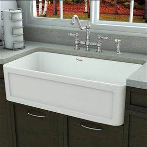 Whitehaus Collection Large Front Apron Fireclay Sink - 33-in - White