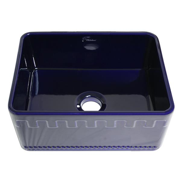 Whitehaus Collection Front Apron Fireclay Sink - 24-in  - Blue