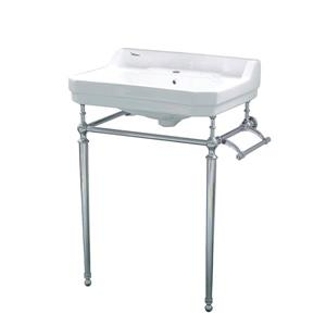 Whitehaus Collection Console Sink with Towel Bar - White/Silver