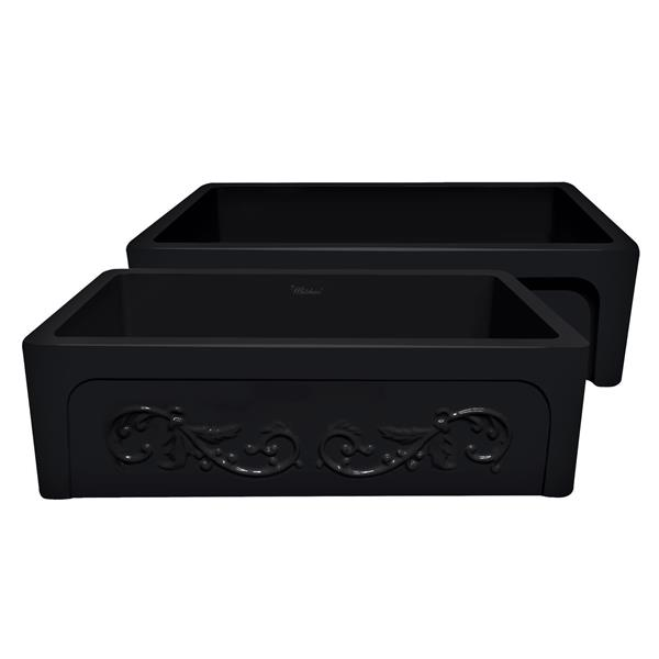 Whitehaus Collection Front Apron Fireclay Sink - 33-in - Black
