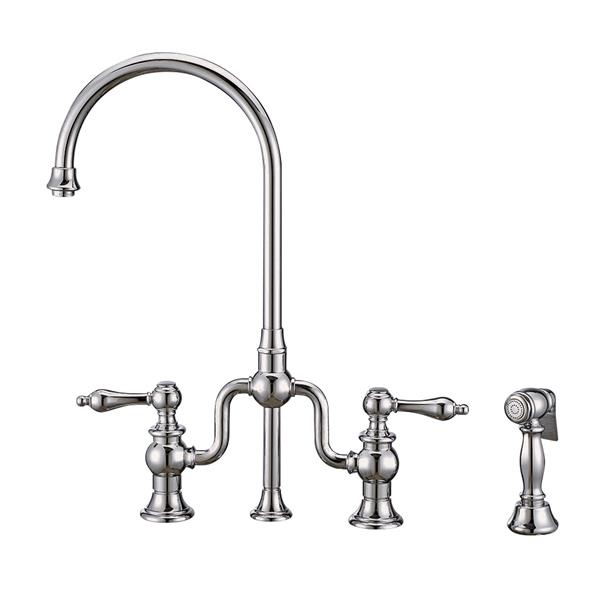 Whitehaus Collection Bridge Faucet with Side Spray - Chrome