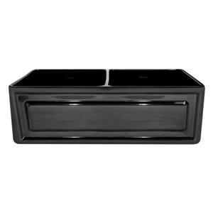 Whitehaus Collection Double Bowl Fireclay Sink - 33-in - Black