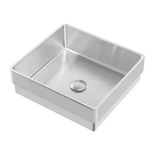 Whitehaus Collection Square Semi-Recessed Bathroom Sink Set - White