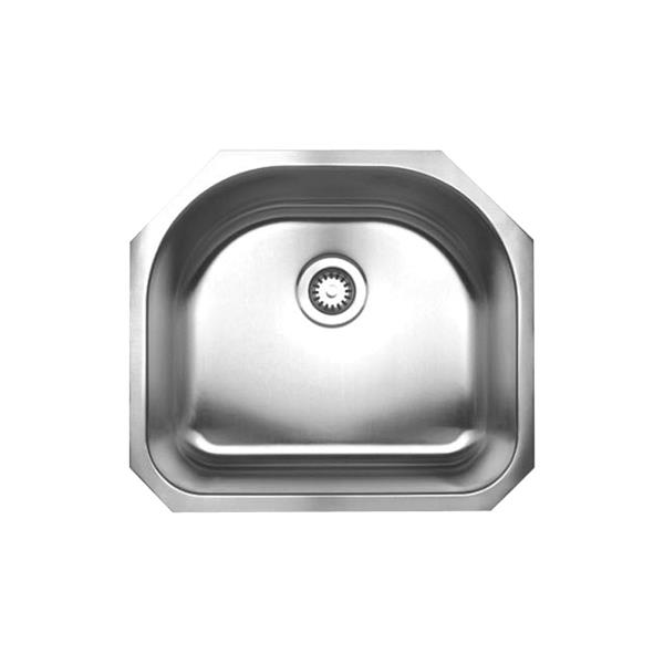 Whitehaus Collection Single D-Shaped Bowl Undermount Sink - Stainless steel