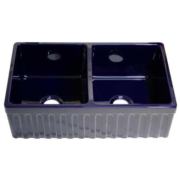 Whitehaus Collection Double Bowl Fireclay Sink - 33-in - Blue