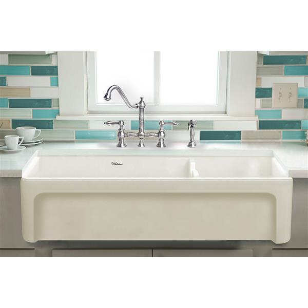 Whitehaus Collection Large Double Bowl Fireclay Sink - 42-in - Off-White