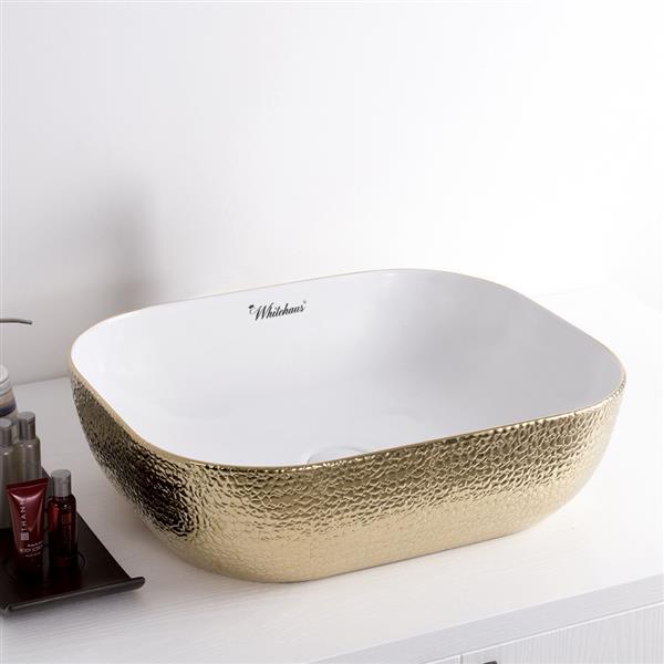 Whitehaus Collection Rectangular Above Counter Bathroom Sink Set - White