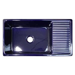 Whitehaus Collection Large Reversible Fireclay Sink - 36-in - Blue