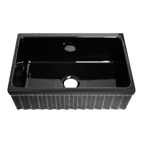 Whitehaus Collection Front Apron Fireclay Sink - 30-in - Black