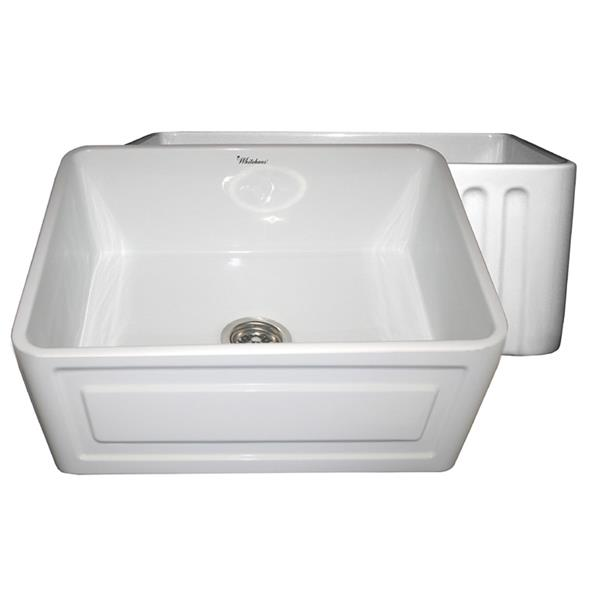 Whitehaus Collection Front Apron Fireclay Sink - 24-in - White