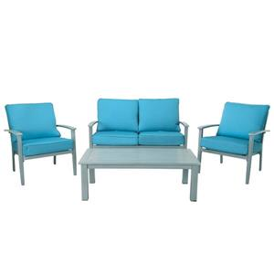Cosco Outdoor Living Patio Set - 4-Piece - Blue and Gray