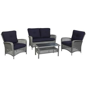Cosco Outdoor Living Patio Set - 4-Piece -Navy Blue and Gray
