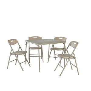Cosco 5-Piece Folding Table and Chair Set - Beige
