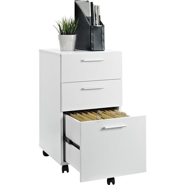 Ameriwood Home Princeton Mobile File Cabinet - 3 Drawers - White