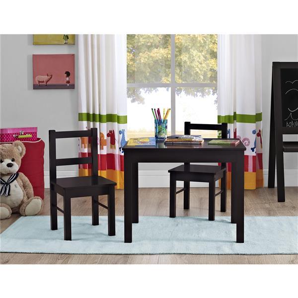 Ensemble pour enfant Hazel, 1 table et 2 chaises, espresso