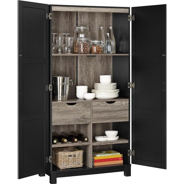 Ameriwood Home Carver Storage Cabinet - Black - 64""