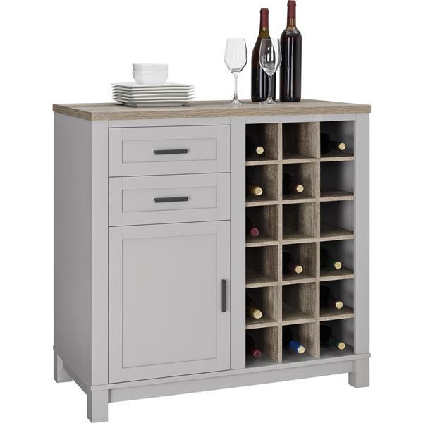 Ameriwood Industries Meuble A Vin Avec Rangement Carver Gris 5277196com Rona