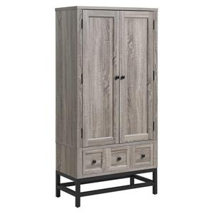 Ameriwood Home Barrett Beverage Cabinet, 2 Doors - Gray Oak