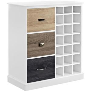 Ameriwood Home Mercer Wine Cabinet with Storage - 3 Doors - White