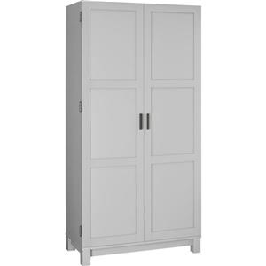 "Ameriwood Home Carver Storage Cabinet - 2 Doors and 6 Shelves - 64"" - Gray"
