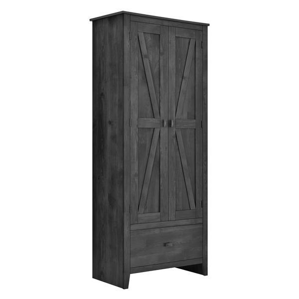 System Build Farmington Wide Storage Cabinet - 71-in x 30-in - Rustic Gray