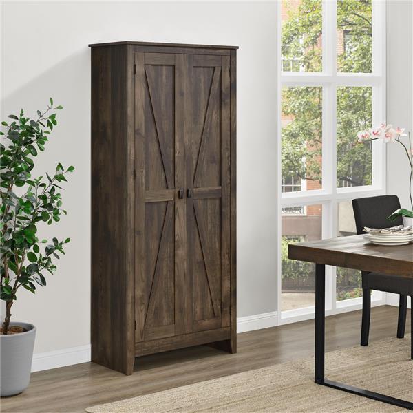 System Build Farmington Wide Storage Cabinet - 71-in x 31.5-in - Rustic Brown