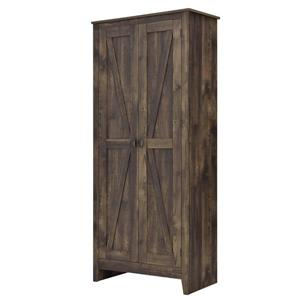 System Build Farmington Wide Storage Cabinet - 71-in x 31.5-in - Rustic Brown