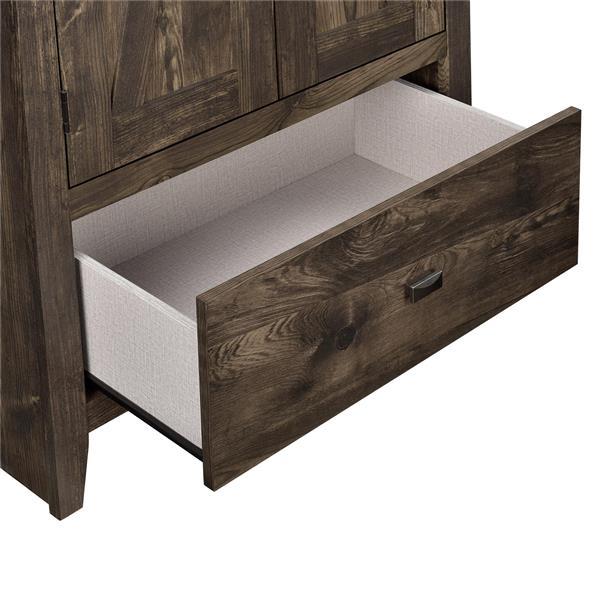 System Build Farmington Wide Storage Cabinet - 71-in x 30-in - Rustic Brown