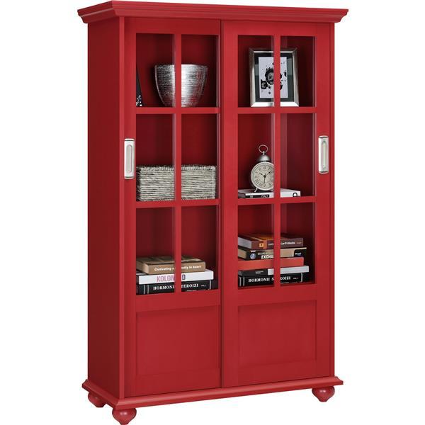 Bibliothèque Aaron Lane, portes en verre coulissantes, rouge