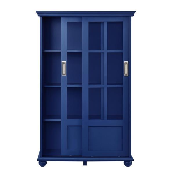 Bibliothèque Aaron Lane, portes en verre coulissantes, bleu