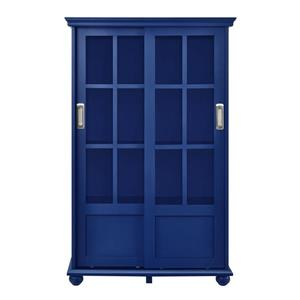 Aaron Lane Bookcase with Sliding Glass Doors - Blue