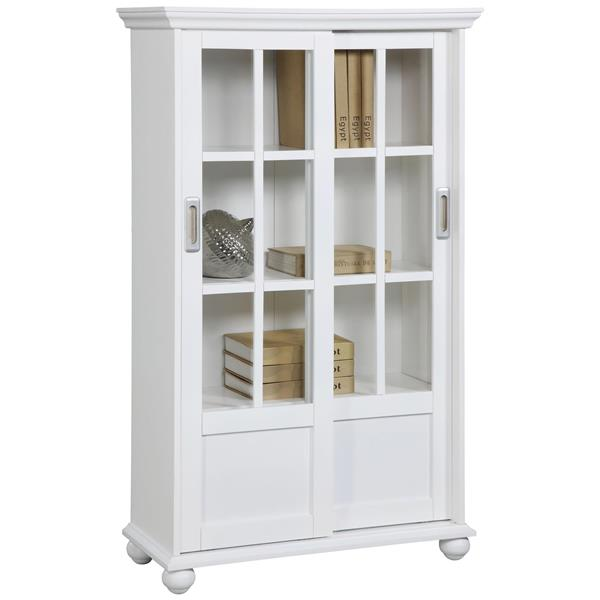 Ameriwood Home Aaron Lane Bookcase with Sliding Glass Doors - White