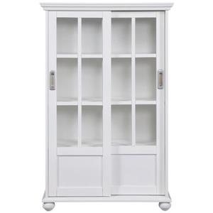 Aaron Lane Bookcase with Sliding Glass Doors - White