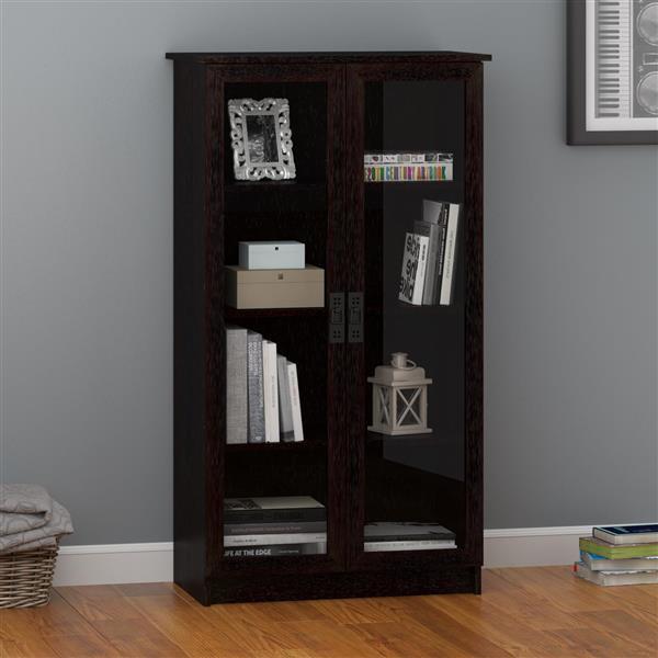 "Bibliothèque avec portes en verre Quinton, 53.25"", espresso"