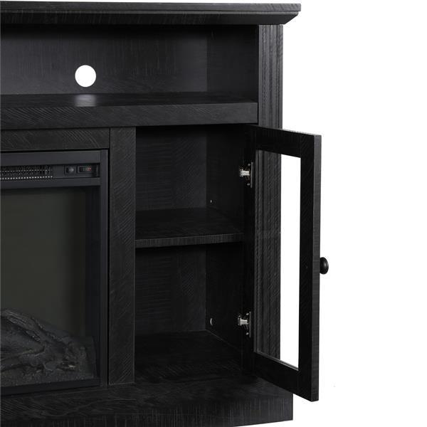 Meuble télé avec foyer électrique Chicago, noir