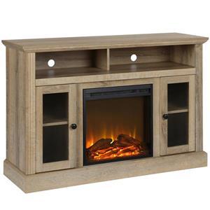 Meuble télé avec foyer électrique Chicago, bois naturel