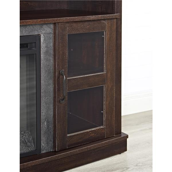 Ameriwood Home Barrow Creek Fireplace with TV Cabinet - 2 Doors - Espresso