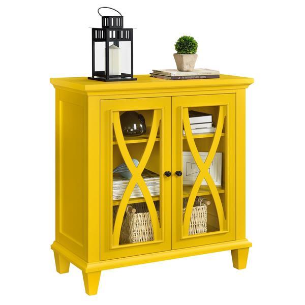Armoire à double porte en verre Ellington, jaune