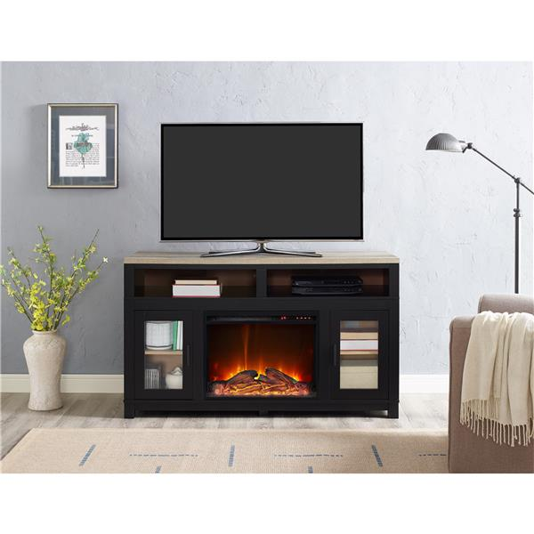 "Ameriwood Home Carver Fireplace with TV Cabinet - For TVs up to 60"" - Black"