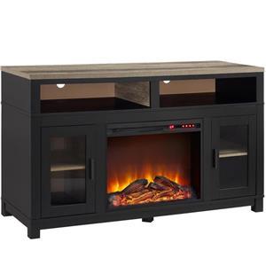 Meuble télé Carver avec foyer électrique intégré, noir